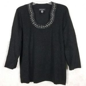 Cable & Gauge black sweater with silver threads 1X